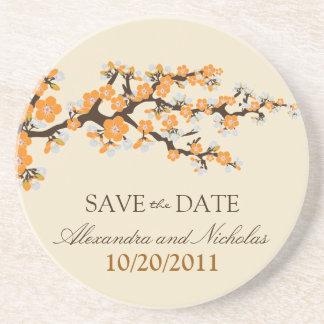 Cherry Blossom Save-the-Date Coaster (orange)