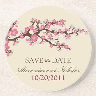 Cherry Blossom Save-the-Date Coaster (pink)