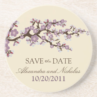 Cherry Blossom Save-the-Date Coaster (purple)