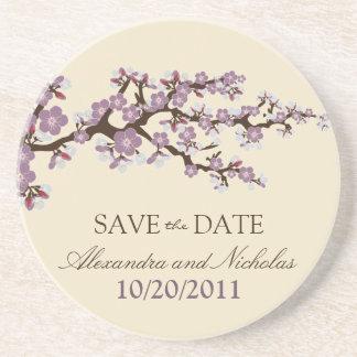 Cherry Blossom Save-the-Date Coaster (purple)