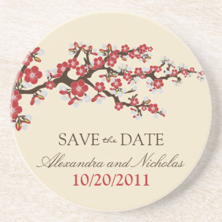 Cherry Blossom Save-the-Date Coaster (red)