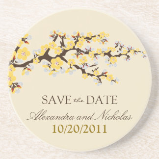 Cherry Blossom Save-the-Date Coaster (yellow)