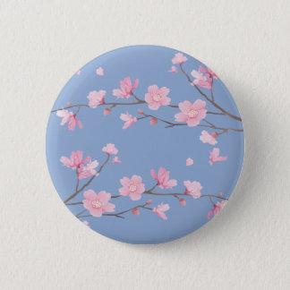 Cherry Blossom - Serenity Blue 2 Inch Round Button