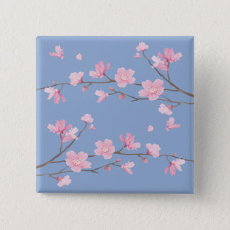 Cherry Blossom - Serenity Blue 2 Inch Square Button