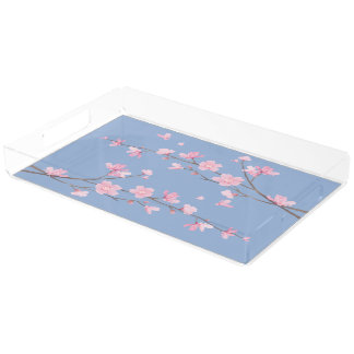 Cherry Blossom - Serenity Blue Acrylic Tray