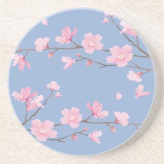 Cherry Blossom - Serenity Blue Beverage Coasters