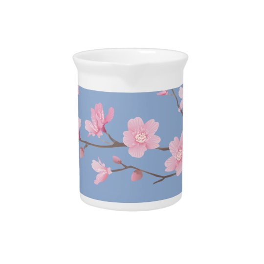 Cherry Blossom - Serenity Blue Beverage Pitcher