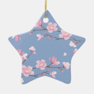 Cherry Blossom - Serenity Blue Ceramic Star Ornament