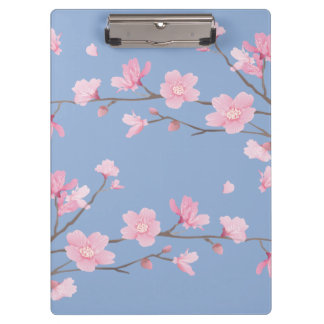 Cherry Blossom - Serenity Blue Clipboard