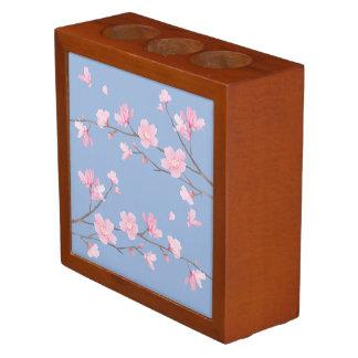 Cherry Blossom - Serenity Blue Desk Organizer