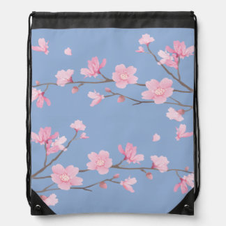 Cherry Blossom - Serenity Blue Drawstring Bag