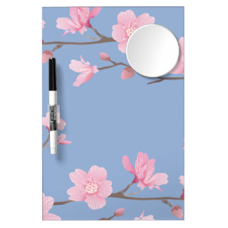 Cherry Blossom - Serenity Blue Dry Erase Board With Mirror