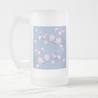 Cherry Blossom - Serenity Blue Frosted Glass Beer Mug