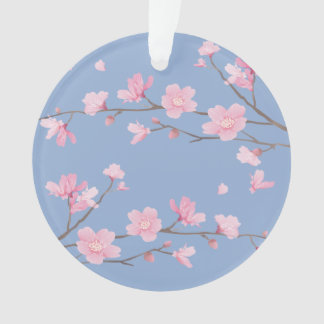 Cherry Blossom - Serenity Blue - HAPPY BIRTHDAY Ornament