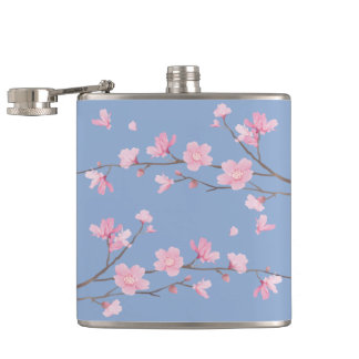 Cherry Blossom - Serenity Blue Hip Flask