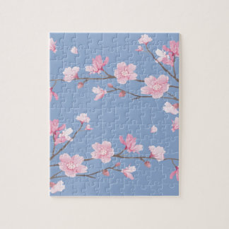 Cherry Blossom - Serenity Blue Jigsaw Puzzle