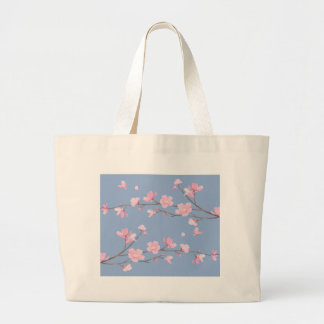 Cherry Blossom - Serenity Blue Large Tote Bag