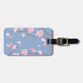 Cherry Blossom - Serenity Blue Luggage Tag