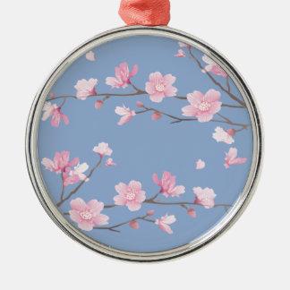 Cherry Blossom - Serenity Blue Metal Ornament