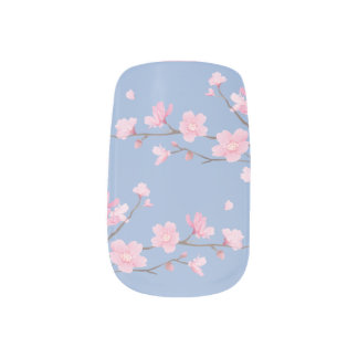 Cherry Blossom - Serenity Blue Minx Nail Art