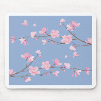 Cherry Blossom - Serenity Blue Mouse Pad