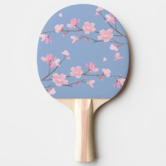 Cherry Blossom - Serenity Blue Ping Pong Paddle