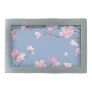 Cherry Blossom - Serenity Blue Rectangular Belt Buckle