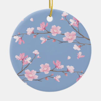 Cherry Blossom - Serenity Blue Round Ceramic Ornament