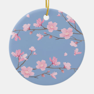 Cherry Blossom - Serenity Blue Round Ceramic Ornament