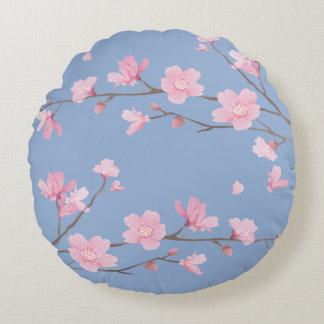 Cherry Blossom - Serenity Blue Round Pillow