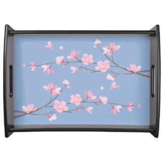 Cherry Blossom - Serenity Blue Serving Tray