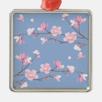 Cherry Blossom - Serenity Blue Silver-Colored Square Ornament