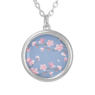 Cherry Blossom - Serenity Blue Silver Plated Necklace