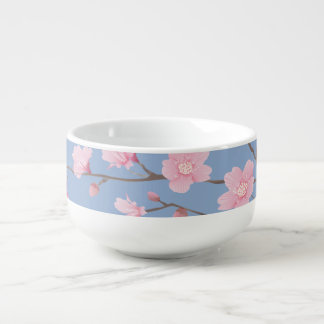 Cherry Blossom - Serenity Blue Soup Bowl With Handle