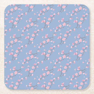 Cherry Blossom - Serenity Blue Square Paper Coaster