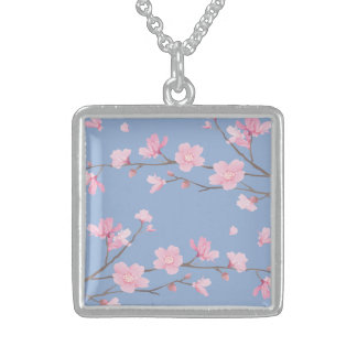 Cherry Blossom - Serenity Blue Sterling Silver Necklace