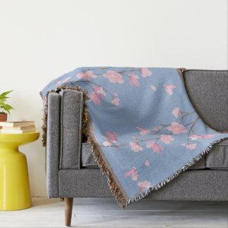 Cherry Blossom - Serenity Blue Throw Blanket