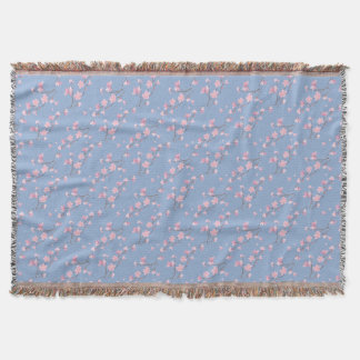 Cherry Blossom - Serenity Blue Throw Blanket