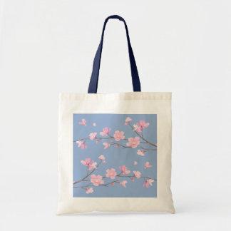 Cherry Blossom - Serenity Blue Tote Bag