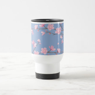 Cherry Blossom - Serenity Blue Travel Mug