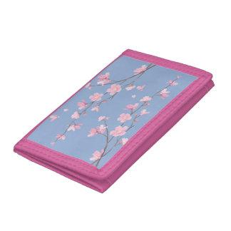 Cherry Blossom - Serenity Blue Tri-fold Wallet