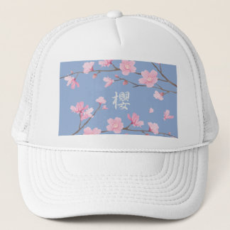 Cherry Blossom - Serenity Blue Trucker Hat