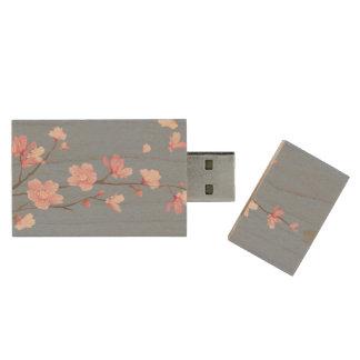 Cherry Blossom - Serenity Blue Wood USB Flash Drive