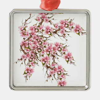 Cherry Blossom Silver-Colored Square Ornament