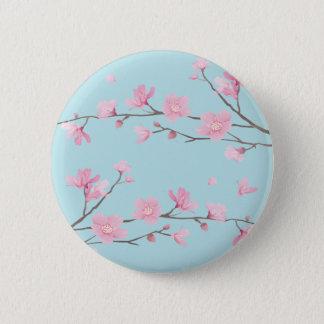 Cherry Blossom - Sky Blue 2 Inch Round Button