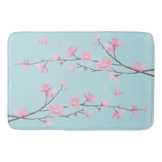 Cherry Blossom - Sky Blue Bath Mat