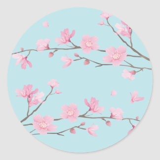Cherry Blossom - Sky Blue Classic Round Sticker