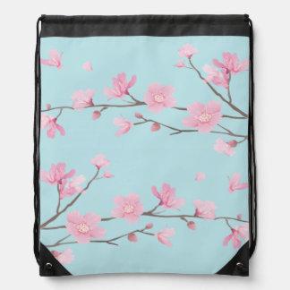 Cherry Blossom - Sky Blue Drawstring Bag