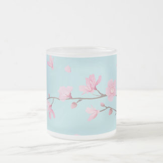 Cherry Blossom - Sky Blue Frosted Glass Coffee Mug
