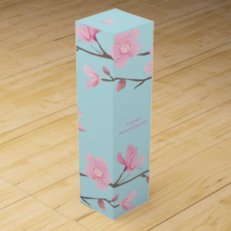 Cherry Blossom - Sky Blue - Happy Anniversary Wine Bottle Boxes